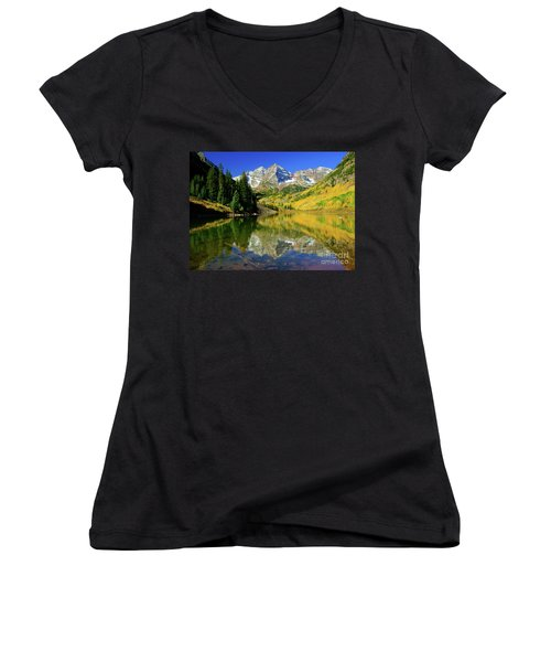Maroon Lake Autum - 1 Women's V-Neck (Athletic Fit)