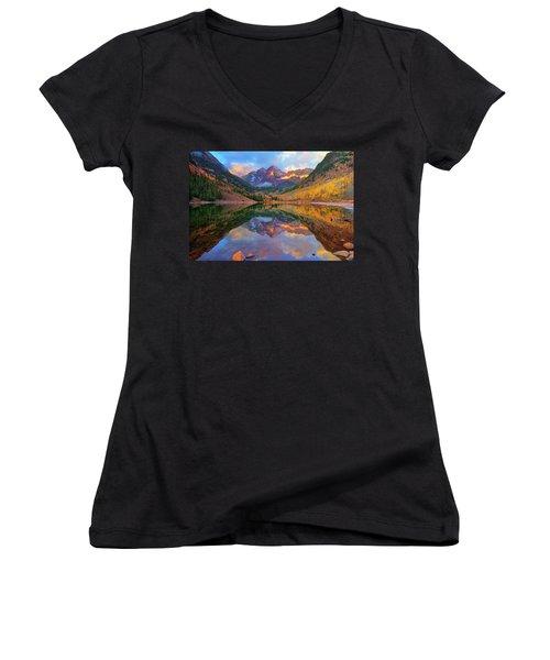 Maroon Lake Dawn Women's V-Neck T-Shirt (Junior Cut) by Greg Norrell