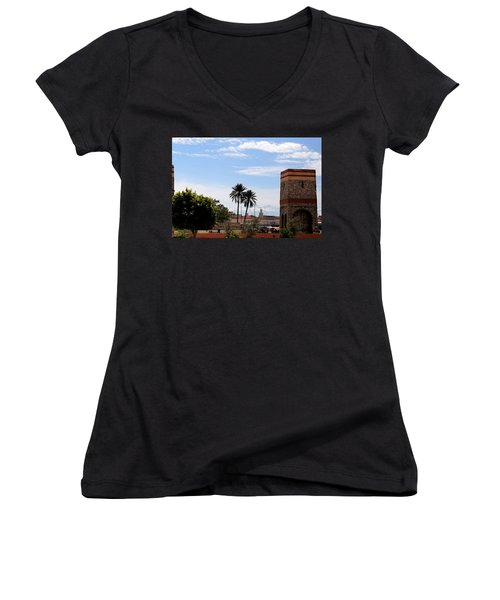 Women's V-Neck T-Shirt (Junior Cut) featuring the photograph Marrakech 2 by Andrew Fare