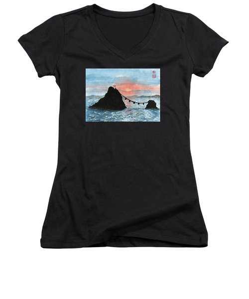 Married Couple Rocks At Sunrise Women's V-Neck T-Shirt