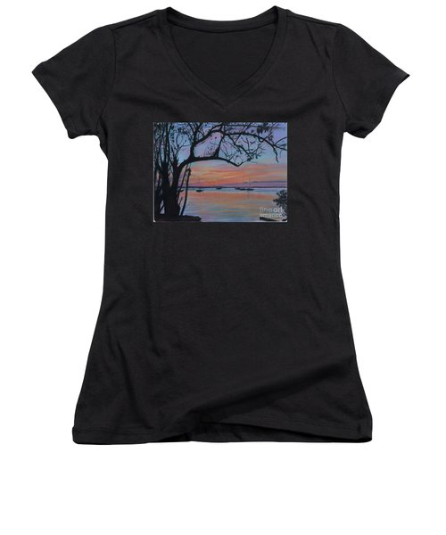 Marsh Harbour At Sunset Women's V-Neck (Athletic Fit)