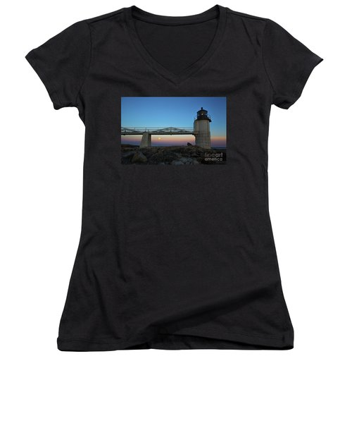 Marshall Point Lighthouse With Full Moon Women's V-Neck T-Shirt (Junior Cut) by Diane Diederich