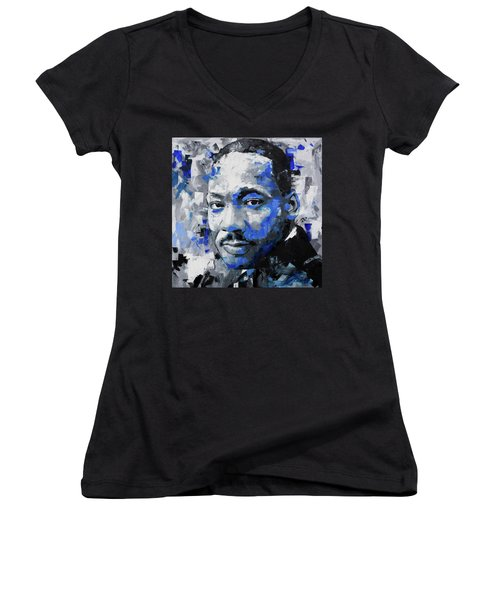Women's V-Neck T-Shirt (Junior Cut) featuring the painting Martin Luther King Jr by Richard Day