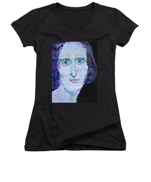 Women's V-Neck T-Shirt (Junior Cut) featuring the painting Mary Shelley - Oil Portrait by Fabrizio Cassetta