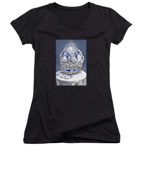 Mask Still Life Blue Women's V-Neck (Athletic Fit)