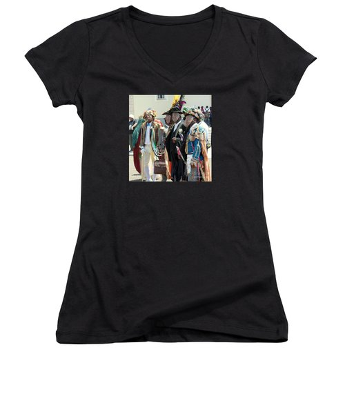 Masqueraders Of Sao Tome Women's V-Neck T-Shirt (Junior Cut) by John Potts