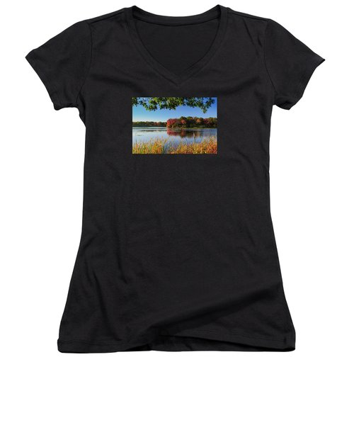 Massapequa Nature Preserve Women's V-Neck T-Shirt (Junior Cut) by Jose Oquendo