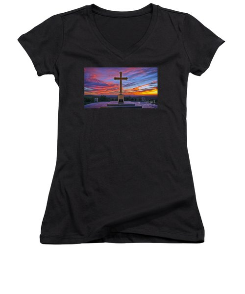 Christian Cross And Amazing Sunset Women's V-Neck