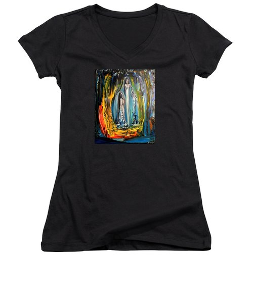 Women's V-Neck T-Shirt (Junior Cut) featuring the painting Matrimony  by Kicking Bear  Productions