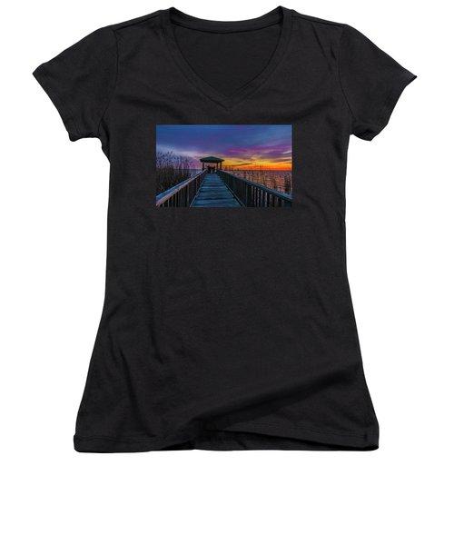 Mattamuskeet Lake Women's V-Neck T-Shirt (Junior Cut)