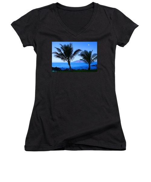 Maui Coastline Women's V-Neck T-Shirt (Junior Cut) by Michael Rucker