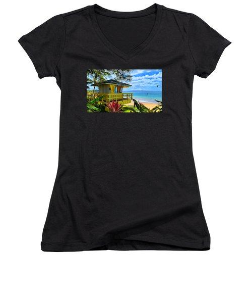 Maui Kamaole Beach Women's V-Neck T-Shirt (Junior Cut) by Michael Rucker