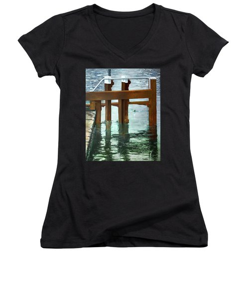 Maynooth Lock Women's V-Neck T-Shirt (Junior Cut) by Marty Garland