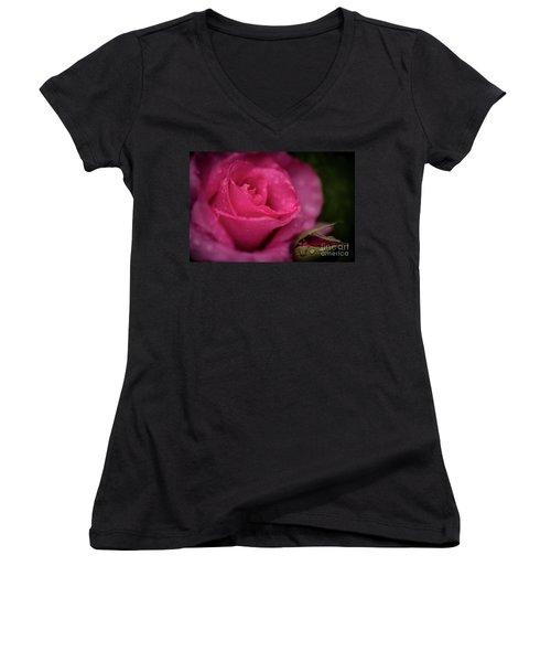 Mccartney Rose Women's V-Neck T-Shirt (Junior Cut) by Judy Wolinsky