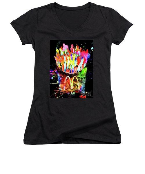 Mcdonald's French Fries Grunge Women's V-Neck T-Shirt (Junior Cut)