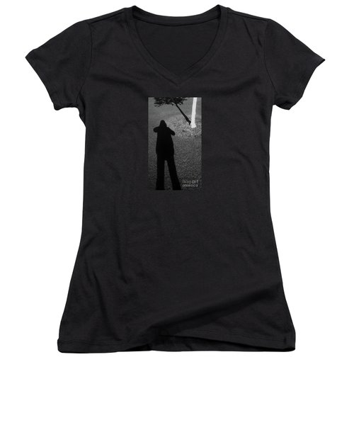 Me And My Shadow Women's V-Neck T-Shirt (Junior Cut) by Nareeta Martin