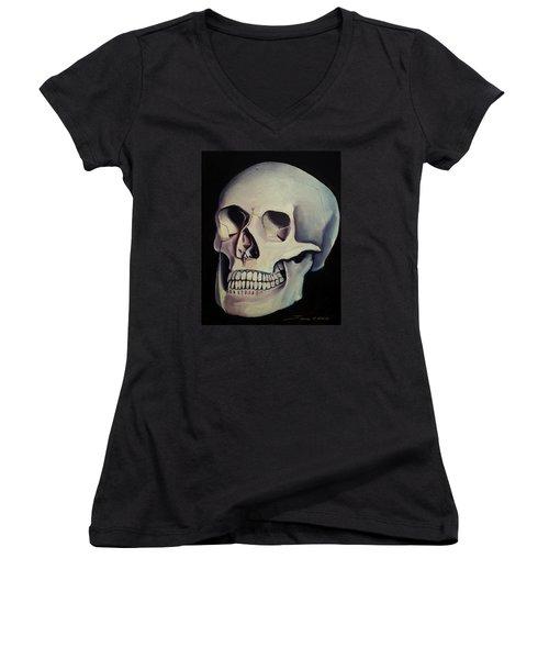 Medical Skull  Women's V-Neck T-Shirt (Junior Cut) by James Christopher Hill