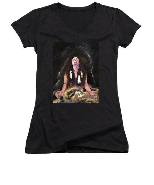 Medicine Woman Women's V-Neck T-Shirt (Junior Cut) by J W Baker