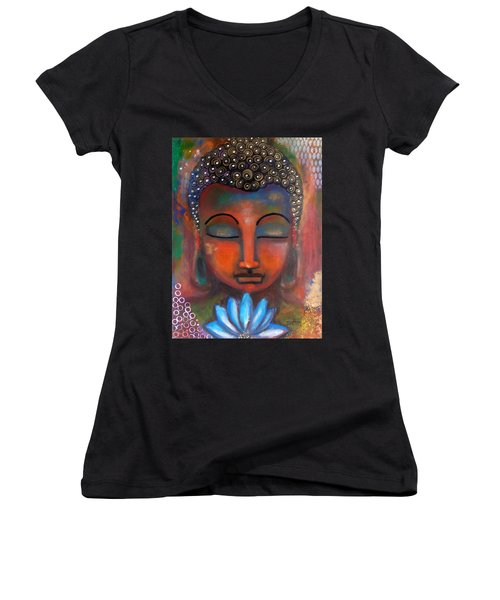 Meditating Buddha With A Blue Lotus Women's V-Neck T-Shirt