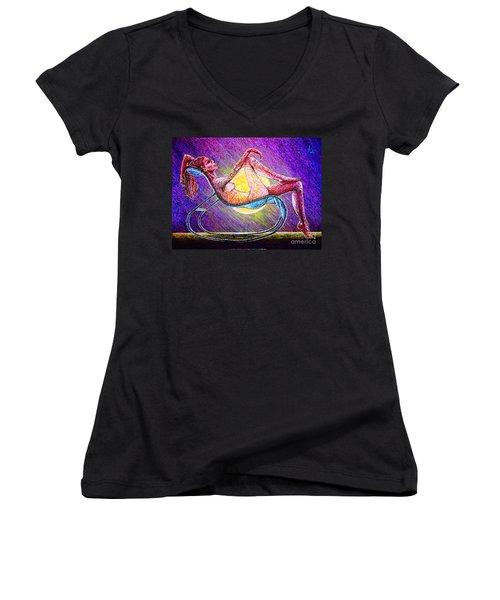 Meditation #2 Women's V-Neck T-Shirt (Junior Cut) by Viktor Lazarev