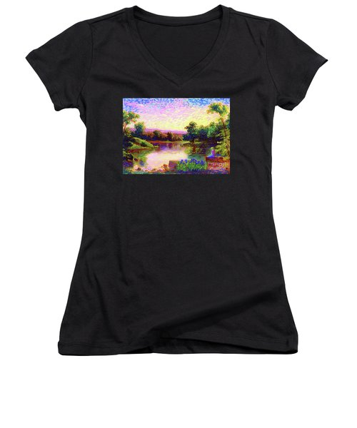 Meditation, Just Be Women's V-Neck T-Shirt (Junior Cut) by Jane Small