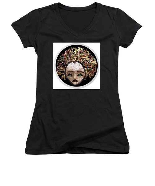 Medusa Bedazzled Round Beach Towel Women's V-Neck T-Shirt