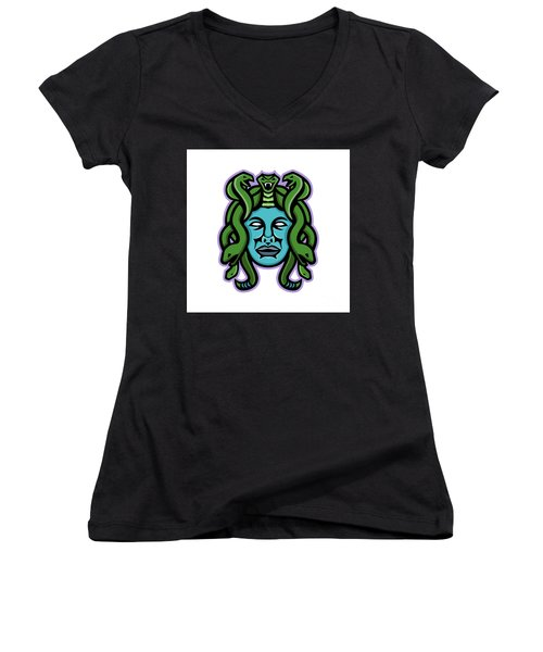 Medusa Greek God Mascot Women's V-Neck (Athletic Fit)