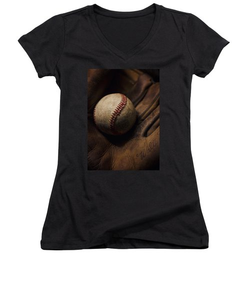 Meet Me At The Sandlot Women's V-Neck T-Shirt (Junior Cut) by Heather Applegate