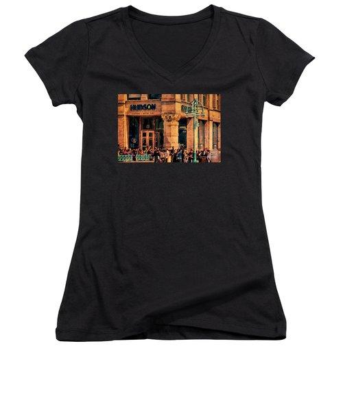 Meet You At Hudson's Women's V-Neck T-Shirt (Junior Cut) by David Blank