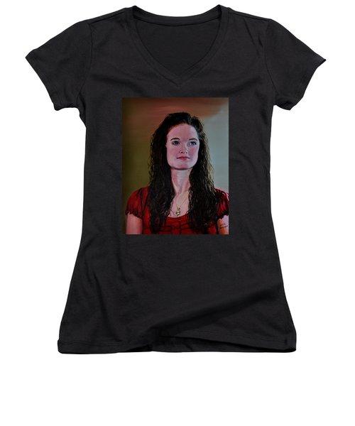Megan At Eighteen Women's V-Neck T-Shirt (Junior Cut) by Stan Hamilton