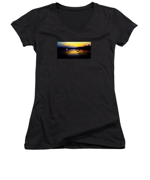 Mellow Moments In New England Women's V-Neck (Athletic Fit)