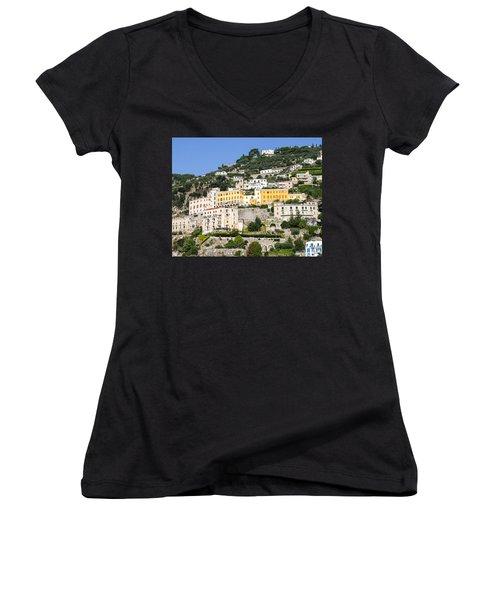 Mellow Yellow Buildings Women's V-Neck T-Shirt