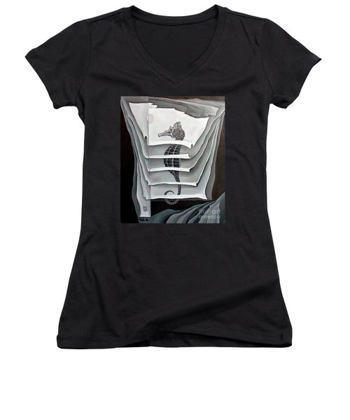Women's V-Neck T-Shirt (Junior Cut) featuring the painting Memory Layers by Fei A