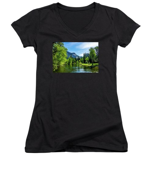 Merced River In Yosemite Valley Women's V-Neck (Athletic Fit)