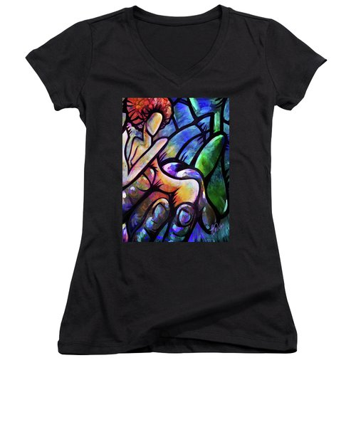 Women's V-Neck T-Shirt (Junior Cut) featuring the digital art Mercy's Hand by AC Williams