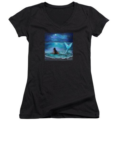 Mermaid Moon And Stars Women's V-Neck T-Shirt (Junior Cut) by Leslie Allen