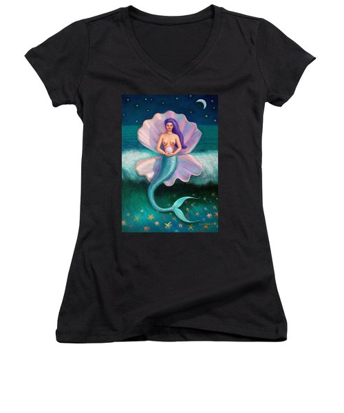 Women's V-Neck T-Shirt (Junior Cut) featuring the painting Mermaid's Pearl by Sue Halstenberg