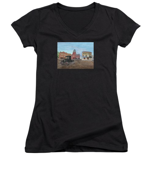 Old New England Town Women's V-Neck