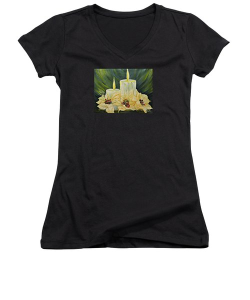 Women's V-Neck T-Shirt (Junior Cut) featuring the mixed media Our Lady And Child Jesus by AmaS Art