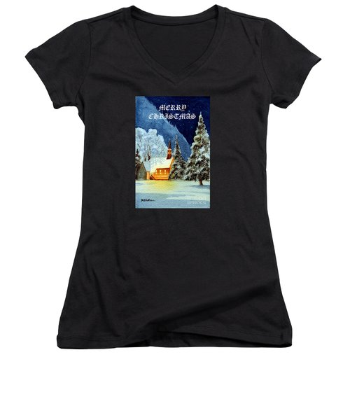 Merry Christmas Card Yosemite Valley Chapel Women's V-Neck T-Shirt (Junior Cut) by Bill Holkham
