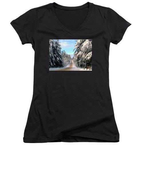 Merry Christmas,happy Holidays Women's V-Neck T-Shirt (Junior Cut) by Elfriede Fulda