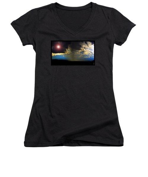 Mesa Thunderstorm Vistas Women's V-Neck T-Shirt (Junior Cut) by Susanne Still