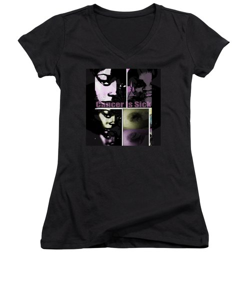 Women's V-Neck T-Shirt (Junior Cut) featuring the mixed media Message For All by Fania Simon
