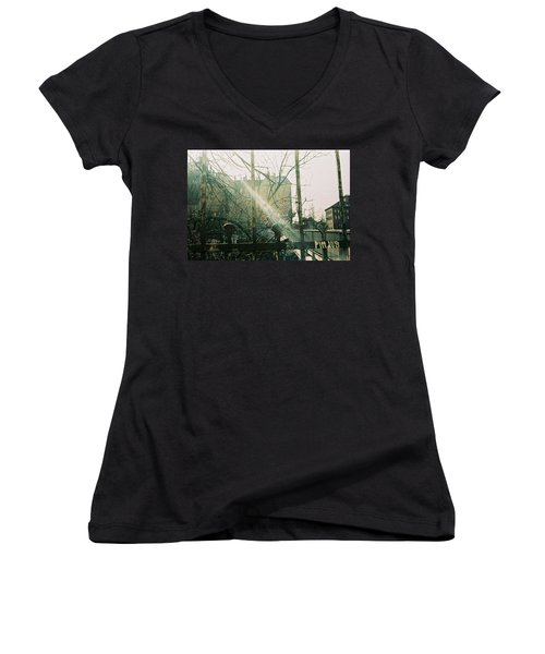 Metal Fence With Grafitti And Bridge Women's V-Neck (Athletic Fit)