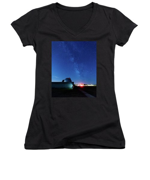 Meteor And Observatory Women's V-Neck T-Shirt (Junior Cut) by Jay Stockhaus