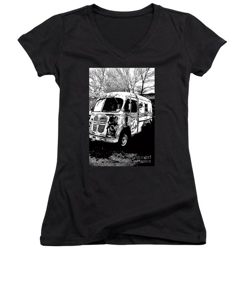 Metro Van Side Women's V-Neck T-Shirt (Junior Cut) by Renie Rutten