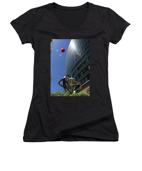 Women's V-Neck T-Shirt (Junior Cut) featuring the photograph Metropolitan Stranger by Christopher McKenzie