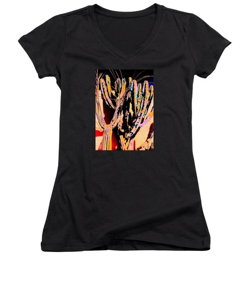 Mexico Colors Women's V-Neck T-Shirt (Junior Cut) by M Diane Bonaparte