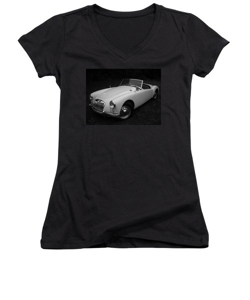 Mg - Morris Garages Women's V-Neck T-Shirt (Junior Cut) by Juergen Weiss