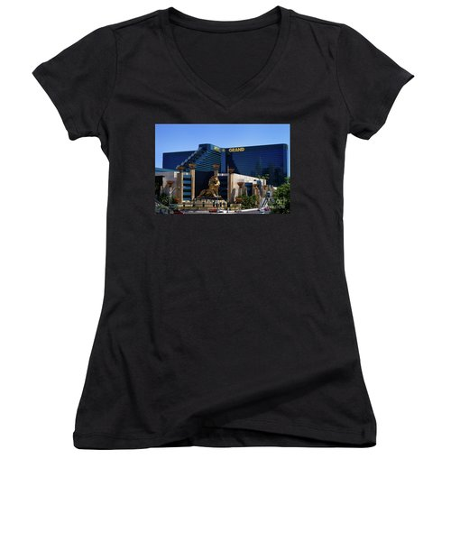 Mgm Grand Hotel Casino Women's V-Neck T-Shirt